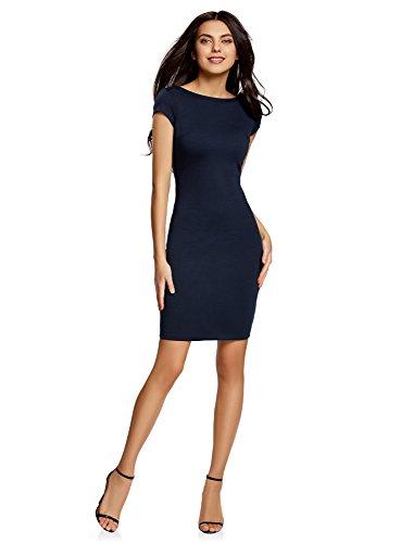 (oodji Collection Damen Enges Kleid mit Rückenausschnitt, Blau, DE 36 / EU 38 / S)