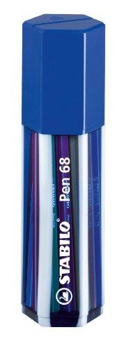 Premium-Filzstift - STABILO Pen 68-20er Big Pen Box in dunkelblau - mit 20 verschiedenen Farben -