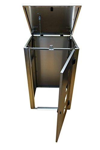 Mülltonnenbox Edelstahl, Modell Eleganza Quad, 120 Liter, Zweierbox, in Weiß RAL 9016 - 2
