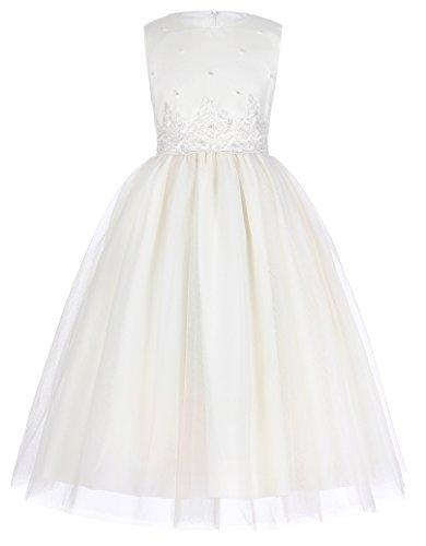Elfenbein Partykleid aermellos A-linie Ballkleid 3-4 jahre (Mädchen Elfenbein Kleider)