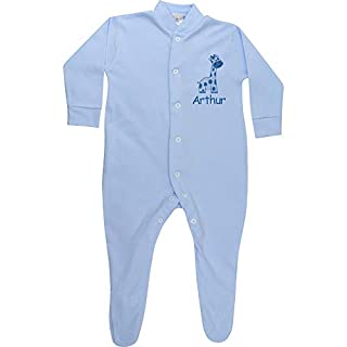 TeddyTs Personalised Blue Baby Giraffe Embroidered All in One Body Sleepsuit (6-12 Months)