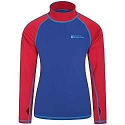 Mountain Warehouse T-Shirt Anti-UV Enfants - Protection UV, Manches Longues, Coutures Plates, séchage Rapide, Tissu Extensible - Idéal pour la Natation Rouge 5-6 Ans