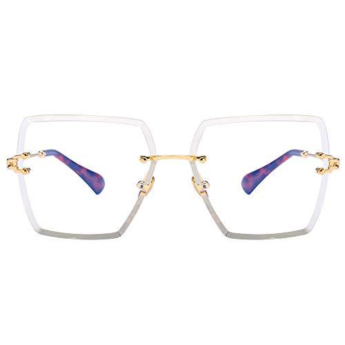 YMTP Rahmenlose Brillen Rahmen Für Frauen Designer Klare Linse Randlose Quadratische Brillen Rahmen Frauen Weiblich, Gold Mit Klar