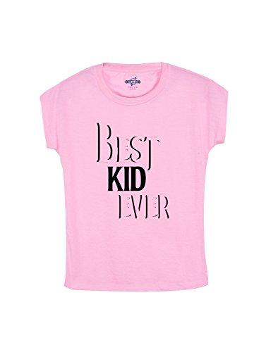 Snoby Girl's Best Kid Ever Pink Casual Printed Tshirt