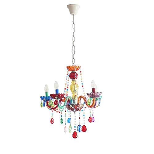 Leuchten für Kinder Farbige Kinder Lampe Prinzessin Schlafzimmer Kronleuchter Junge Mädchen Zimmer Kerzenlicht Kinderzimmer Kristall Candy Kronleuchter Kinder Lampen Kinder Beleuchtung -