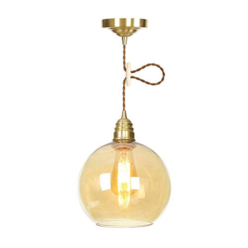 American Industry Kitchen Pendant Light, Clear Glass with Brass Lamp Holder, Indoor Decorations Hanging Fixture for Kitchen Island Aisle Restaurant,Amber-35cm -
