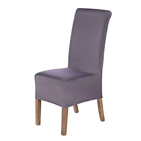 SCHEFFLER-HOME Lena Chaircovers 2 pieces, Stretch Chair Cover, Bi-elastic modern Slipcover, Decor Lycra fabric Protective Cover with elastic band, universal nosefitting by spandex, elastic Span-Cover, Possible seat height coverage 20-24 cm - Shark