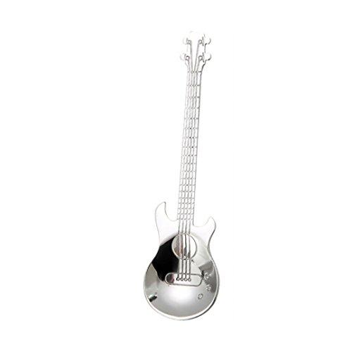 AmaMary Gitarre Kaffee Teelöffel, Kreative bunte Regenbogen Edelstahl Gitarre Kaffee Tee Löffel Besteck trinken Werkzeuge (Silber) - Gitarre Kleinkind Tee