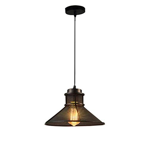 Z-G-Y Rétro 1X Plafonnier Pendant Lampe Suspension En Fer Abat-Jour Rond Hauteur Réglable Rétro Lustre Luminaire Pour Cuisine Island Salle À Manger Salon Bar Loft Éclairage Black