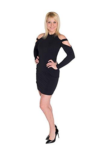 HO Ersoka-Case mini robe à manches longues bretelles licou noir Noir