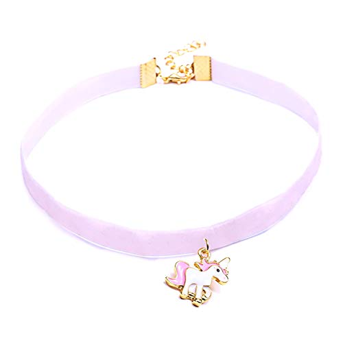 42109b78bef2 Scrox 1pcs Colgantes Mujer Plata Moda Choker Collares Unicornio Niña Joyas  para Mujer Ribbon Collar Corto Originales Longitud  31+5cm Colgante 2.5    2.3cm ...