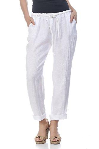 Laura Moretti - Leinenhose mit elastischer Taille und Kordelzug (Pants Elastische Knit Jersey Taille)