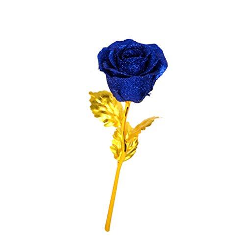 TianranRT 24 Karat Künstliche Rose Blume Einzigartige Geschenke Thanksgiving Geburtstag Für Frau Geschenkbox Rose Gold Pulver + Love Base -