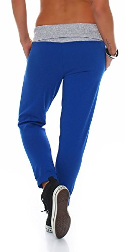 malito Damen Jogginghose in Wickel Optik | Sporthose in Unifarben | Baggy zum Tanzen | Sweatpants �?Trainingshose 3318 Royalblau