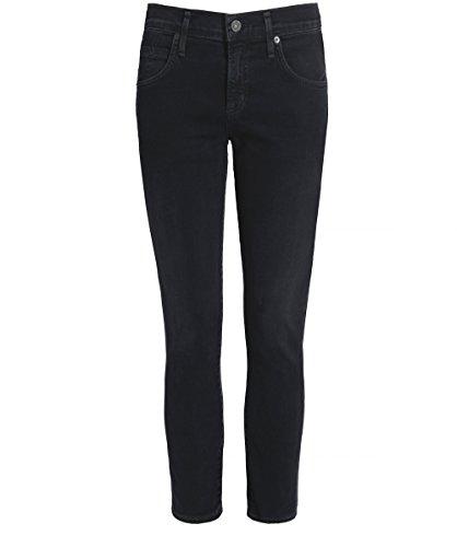 Damen Elsa Mitte Aufstieg abgeschnitten jeans Schwarz 25 (Damen Schwarz Jeans Abgeschnitten)