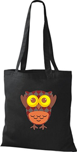 ShirtInStyle Jute Stoffbeutel Bunte Eule niedliche Tragetasche mit Punkte Owl Retro diverse Farbe, blau schwarz