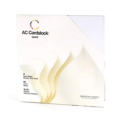 American Crafts 12 x 12-inch White AC Cardstock Pack by Includes 60 Sheets of Heavy Weight, Textured White cardstock