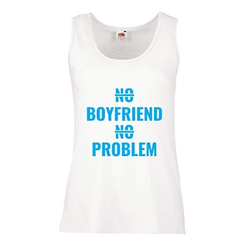 lepni.me Damen Tank-Top Kein Freund, kein Problem, sarkastischer Beziehungs-Humor (X-Large Weiß Blau) -