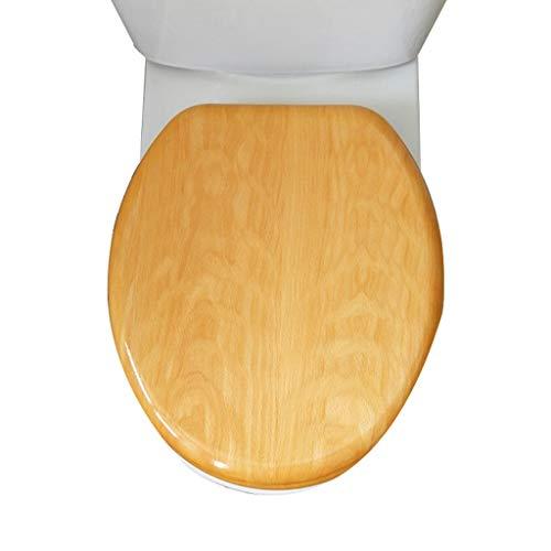 LSLMCS WC-Sitz Mit Armaturen Badezimmer WC Deckel Deckel Sitzt Rutscht Nie Langsam Schließen WC-Sitz, Holz Toiletten-Abdeckung Distressed Teak Effect Toilettensitzmit