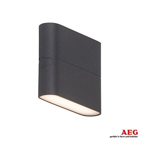 AEG LED Außenwandstrahler Up-Downlight, 2 x 3W LED integriert, 2 x 250 Lumen, 3000K warmweiß, Metall/Kunststoff, anthrazit/weiß
