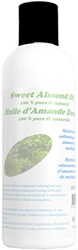 Huile d'Amande Douce pressée à froid - Hydratante, Adoucissante, Apaisante - 100% Pure et Naturelle - 200ml