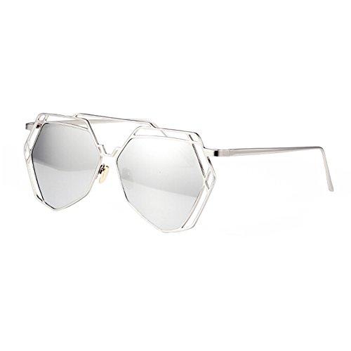 Modern Fashion Full Metal Flash-Spiegel-Objektiv-Sonnenbrille, Silber
