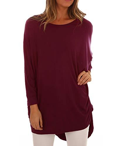 ACHIOOWA Damen Langarm Pullover Rundhals Lose T-Shirt Bluse Oversize Sweatshirt Oberteil Lang Tops Weinrot985449 2XL