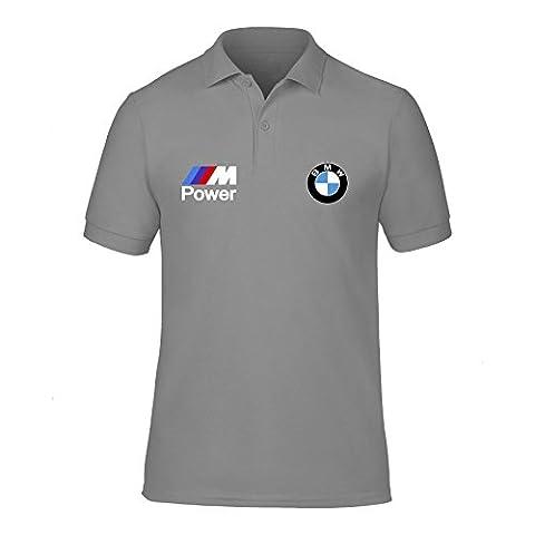 New Men's BMW Power Logo M Sport Race Day Polo Neck T Shirts UK Size S-XXL (Large) Grey