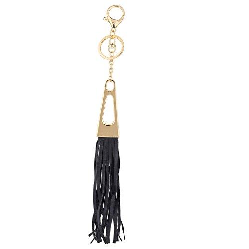 LUX Zubehör Gold Ton N schwarz Stoff Quaste dreieckig Tasche Charm Schlüssel Kette (Schwarz-stoff-quaste)