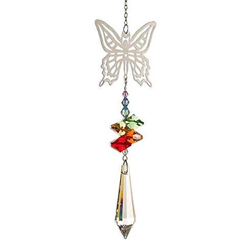 Pretty Silver Chakra Rainbow Butterfly Hanging Window Crystal Suncatcher