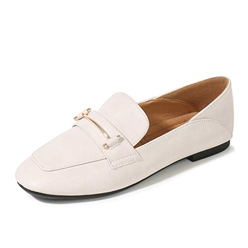 Damenschuhe, im britischen Stil kleine Lederschuhe Damen einzelne Schuhe Flache beiläufige quadratische Kopf, A,34