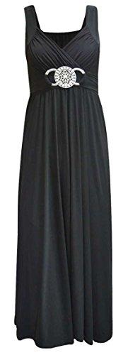 Neue Womens Plus Größe Buckle Bund Raffhalter Abend Lang Maxi Kleid Größe 44-54 - Schwarz, 52/54