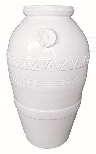 Giara/orcio con rosone in ceramica artistica, decorato a mano in color bianco (vaso fatto a mano - made in italy); altezza cm. 65, diametro cm. 42.