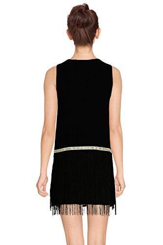 ROBE ÉTÉ FEMME MATIERE LEGERE BRILLANT A FRANGES SANDRINE - SANS MANCHES - CT5987 - Disponible en 3 couleurs: blanc corail noir Noir