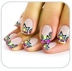 Faux ongles étoiles multicolores fluos