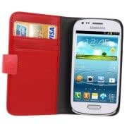 Alcoa Prime Litchi Texture Leather Case Cover with Credit Card Slots Holder for Samsung Galaxy SIII mini / i8190 (Red)