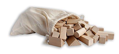 120 kleine unbehandelte Holzbausteine Natur, Buche, im Baumwollbeutel