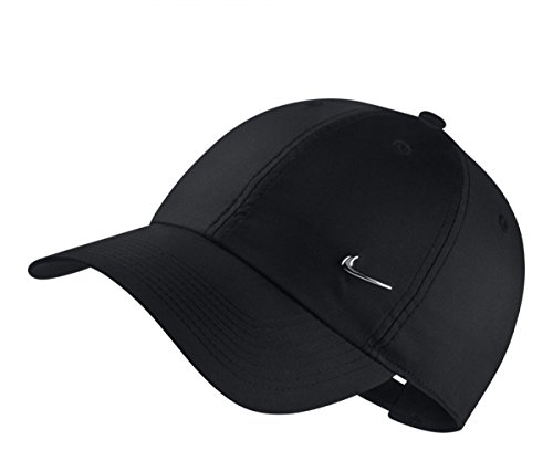 Nike U NK H86 Cap Metal Swoosh Hat, Black/Metallic Silver, One Size -