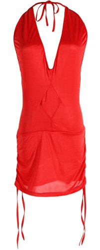 Price comparison product image La Vogue Women Plunge V Flared Backless Night Club Cocktail Bodycon Dress Red