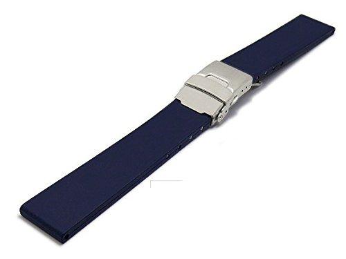 Meyhofer Uhrenarmband Rendsburg 20mm Titan-Faltschließe dunkelblau Kautschuk MyBnskc08/20mm/dblau/TitanFS (20mm Uhrenarmband Titan)
