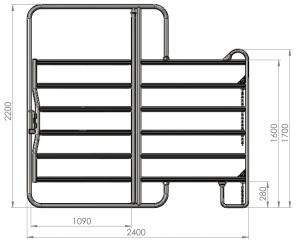 Kerbl Panel - Zaunelement 3,0 m mit Tor (inklusive Kettenverschluss) -
