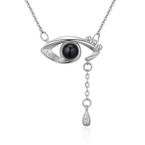 NEVI Multicolour Non-Precious Metal, Brass and Crystal I Love You in 100 Languages AAA Zirconia Rhodium Valentine Eye Pendant Jewellery for Women