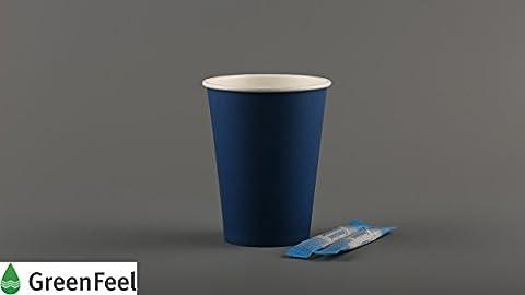 Papier Tasses à café thé jetables Bleu Simple paroi froide/boissons chaudes pique-nique Vaisselle de fête de voyage (500pcs) (226,8gram/340,2gram) 12oz bleu