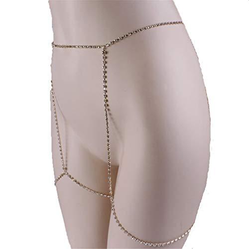 L_shop Bikini Oberschenkel Ketten Retro Sexy Crossover Körperkette Strand Badeanzug Körperschmuck für Frauen