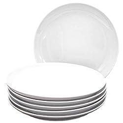 Kahla 39F190A90039C Five Senses Porzellan Tellerset 6-teilig Kuchenteller für 6 Personen Dessertteller 22 cm rund weiß ohne Dekor kleine Snackteller