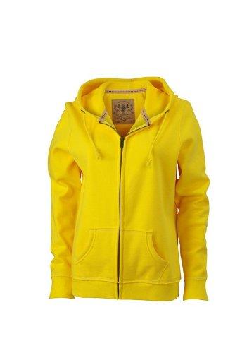JN942-1 Ladies´ Vintage Hoody Jacke Sweatjacke Sweatshirt Kapuze XL,Sun Yellow