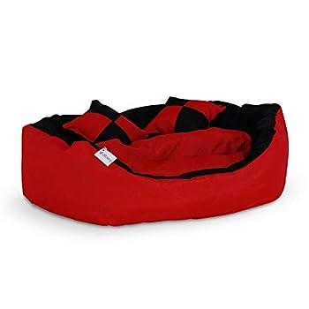 Dibea - Lit / Coussin / Canapé lavable avec coussin réversible pour chien - Rouge/Noir - 65 x 50 x 20 cm
