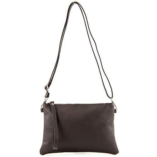 Damen Leder-clutch, Handtaschen (modamoda de - T186 - ital. Clutch/Umhängetasche Leder Medium, Farbe:Dark Chocolate)