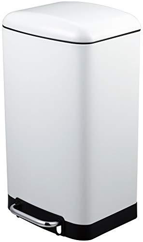 MaxxHome - Cubo de Basura con Pedal, 61 cm, 30 L, Color Blanco