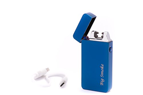 Big Smoke USB Elektro Feuerzeug Dual Arc Blau